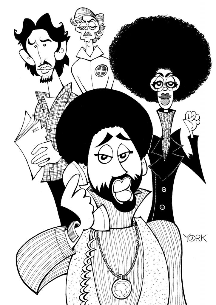 Original caricature by Jeff York of Adam Driver, John David Washington, Topher Grace and Laura Harrier in BLACKKKLANSMAN (copyright 2018)