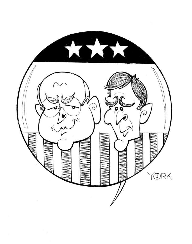 Original caricature by Jeff York of Christian Bale and Sam Rockwell in VICE (copyright 2019)